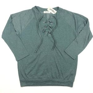 NWT Shop Impressions Blue Green Lace Up Sweater
